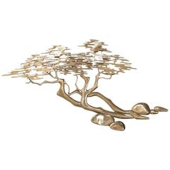 Polished Brass Japanese Style Tree Wall Sculpture by Bijan, 1980