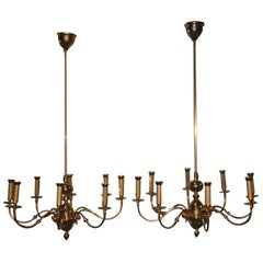 Pair of Chandelier Brass Gold Lumi Design 1950s Italian Design