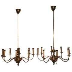 Pair of Chandelier Brass Gold Lumi Design 1950s Italian Design