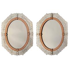 Pair of Engraved and Colored Mirrors, circa 1970
