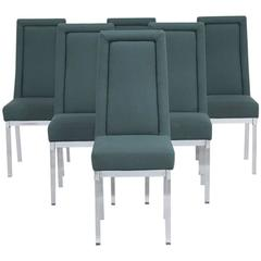 Set of Six Lucite Upholstered Dining Chairs, attributed to Charles Hollis Jones