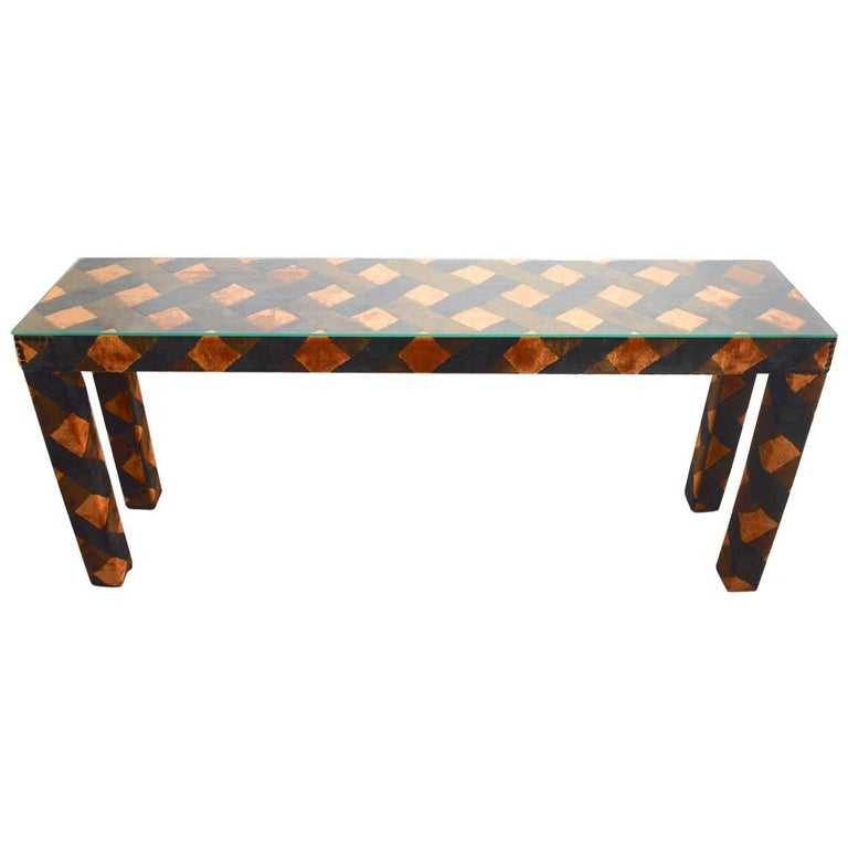 Upholstered Parsons Console Table For Sale