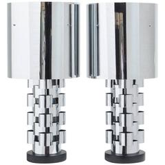 Pair of Curtis Jere Style Nickel Lamps with Original Metal Shades