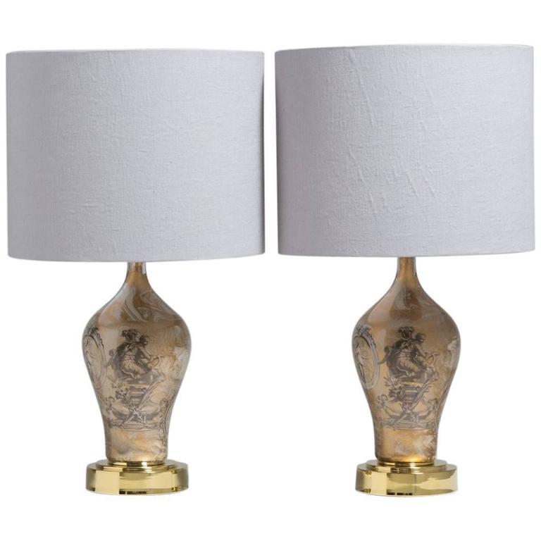 Pair of Fornasetti Style Églomisé Glass Table Lamps, 1970s