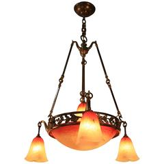 French Art Nouveau Bronze and Art Glass Chandelier by Charles Schneider