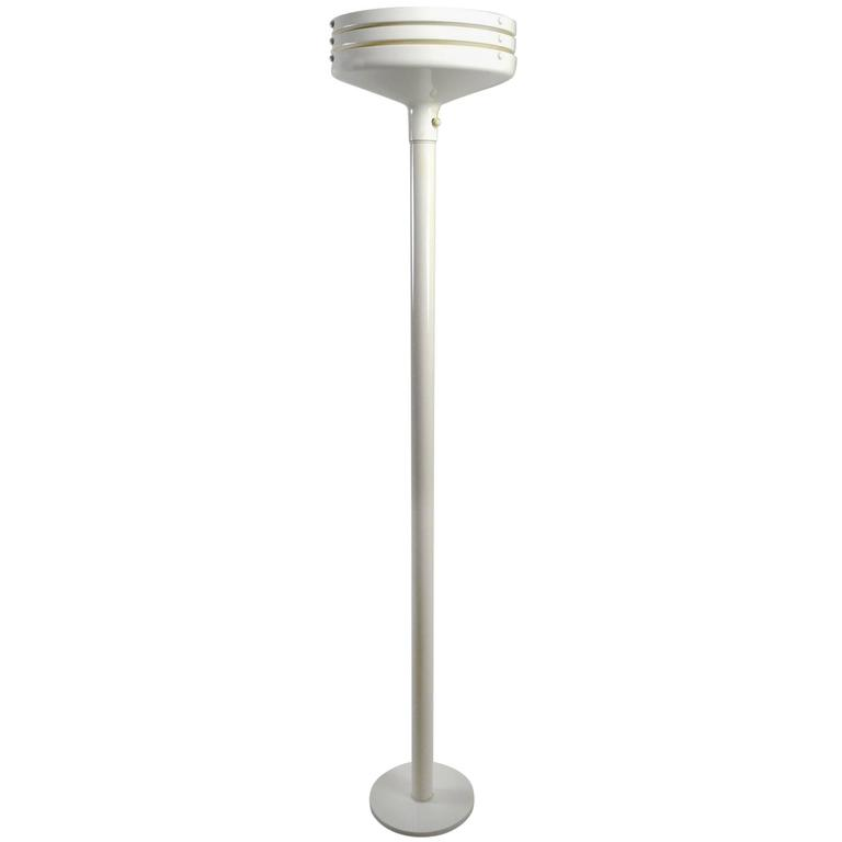 Louvered White Enamel Torchiere Floor Lamp Attributed to Lightolier