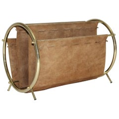 Mid Century Modern Vintage Brassed and Brown Suede Magazine Rack, 1950s