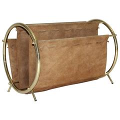 Brass and Suede Magazine Rack, 1950s