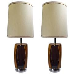 Pair of Smoked Lucite Walnut and Chrome Lamps by Lawrin