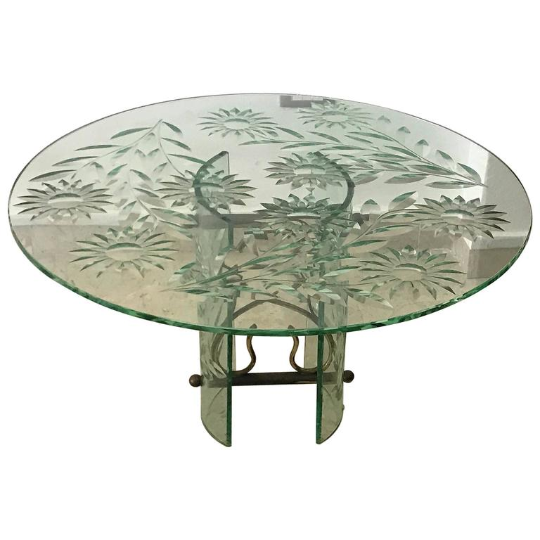 Rare Coffee Table Bruson for Cristal Art, 20th Century