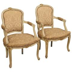 20th Century Pair of Italian Lacquered and Gilt Armchairs with Damask Fabric