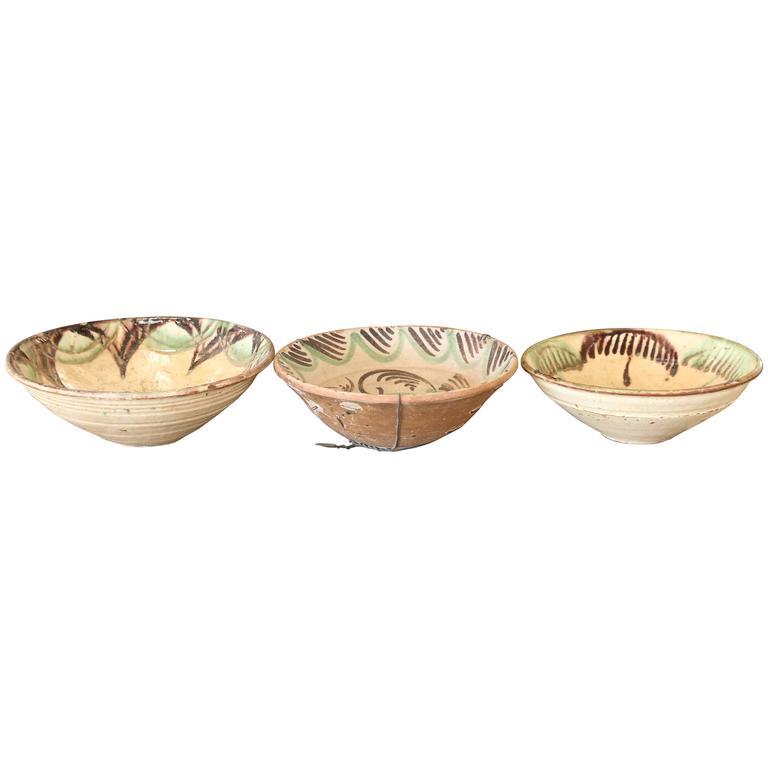 Early 1900 Spanish Glazed Terra Cotta Bowl from Valencia