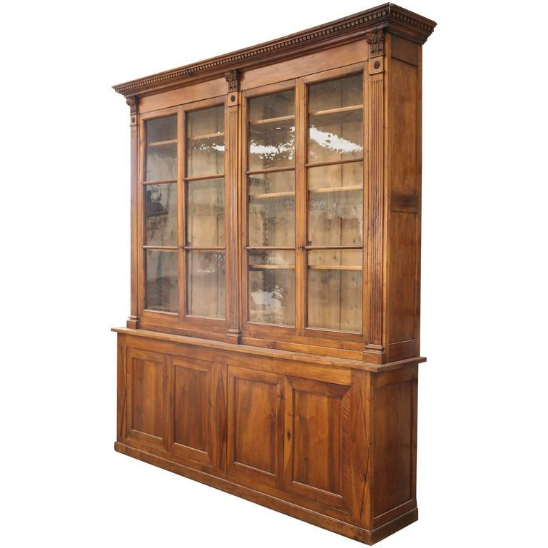 19th Century Directoire Period Walnut Bookcase Cabinet