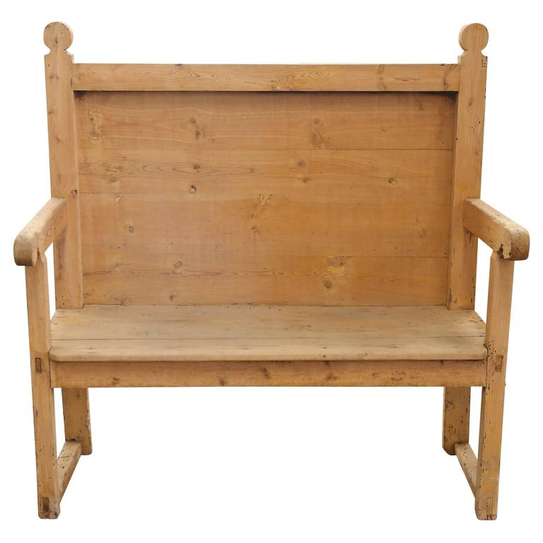 19th Century Pine Bench from Spain