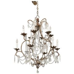 Italian Early 19th Century Draped Beaded Chandelier Iron and Wood