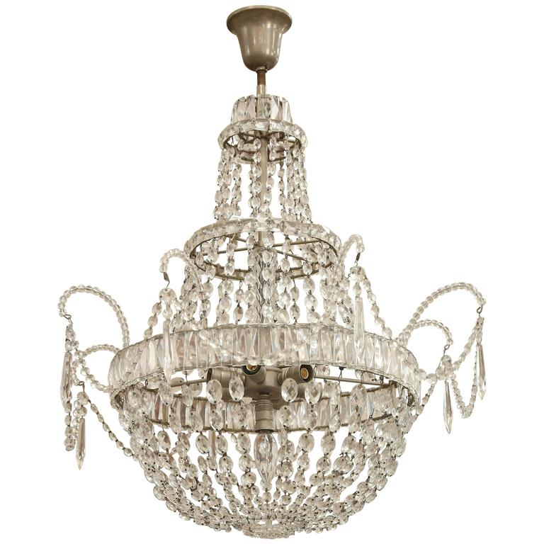 Early 1900s Italian Crystal Chandelier With Silver Metal