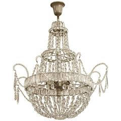 Early 1900s Italian Crystal Chandelier with Silver Metal Canopy and Seven Bulbs