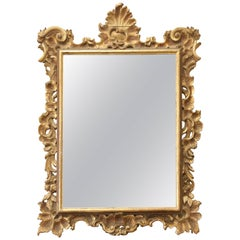 Early Italian 19th Century Wood Carved Gold Gilt Mirror