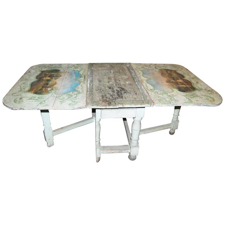 18th century Painted French Gateleg Table For Sale