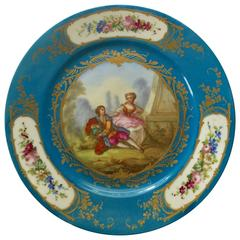 Hand-Painted French Sevres Porcelain Plate Signed