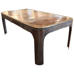 Vintage French Riveted Bin as Dining Table