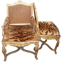 Set of 12 19th Century Giltwood and Cane Dining Chairs