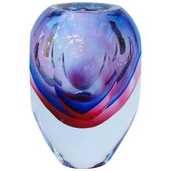 Stunning Large Italian Faceted Murano Glass Vase by Flavio Poli for Seguso