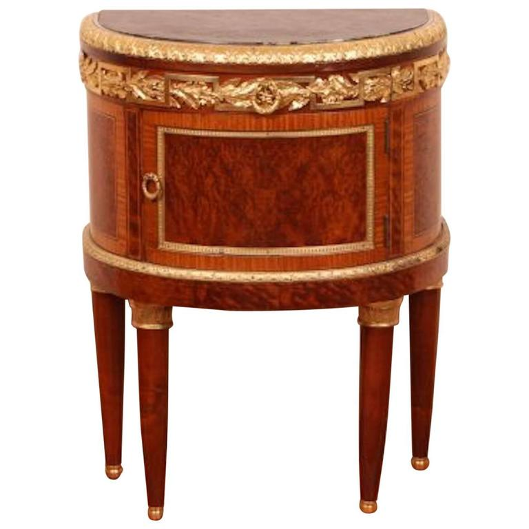 Louis XVI Style Table One Door Demi-Lune Commode In Walnut