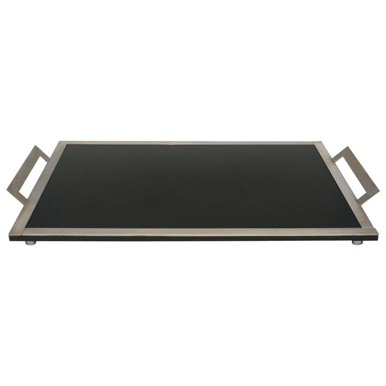 French Art Deco Silver Metal Tray with Black Glass Bottom For Sale