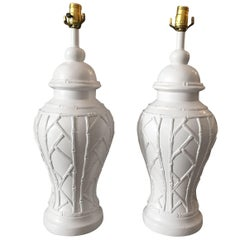 20th Century Faux Ceramic Bamboo Table Lamps