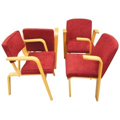 Set of Four Mid-Century Upholstered Bentwood Armchairs by Thonet