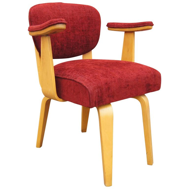 Mid Century Upholstered Bentwood Armchair With Padded Armrests By Thonet  For Sale