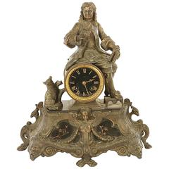 Late 19th Century French Mantle Clock with Seated Man Signed Paris