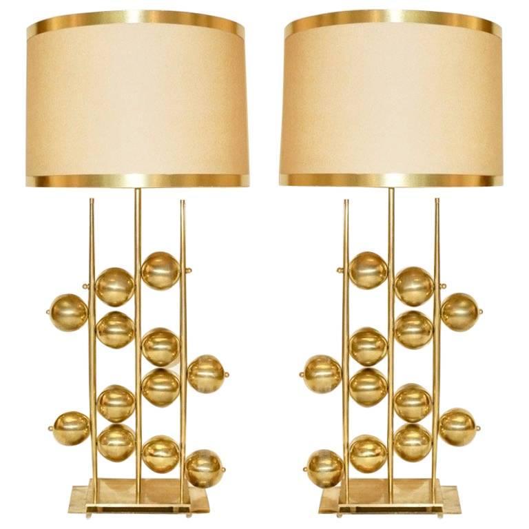 contemporary italian lighting. Italian Contemporary Fine Design Pair Of Organic Gold Brass Lamps With  Spheres For Sale Contemporary Italian Lighting E