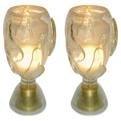 Constantini 1980s Italian Pair of Modern Brass and Gold Murano Glass Lamps