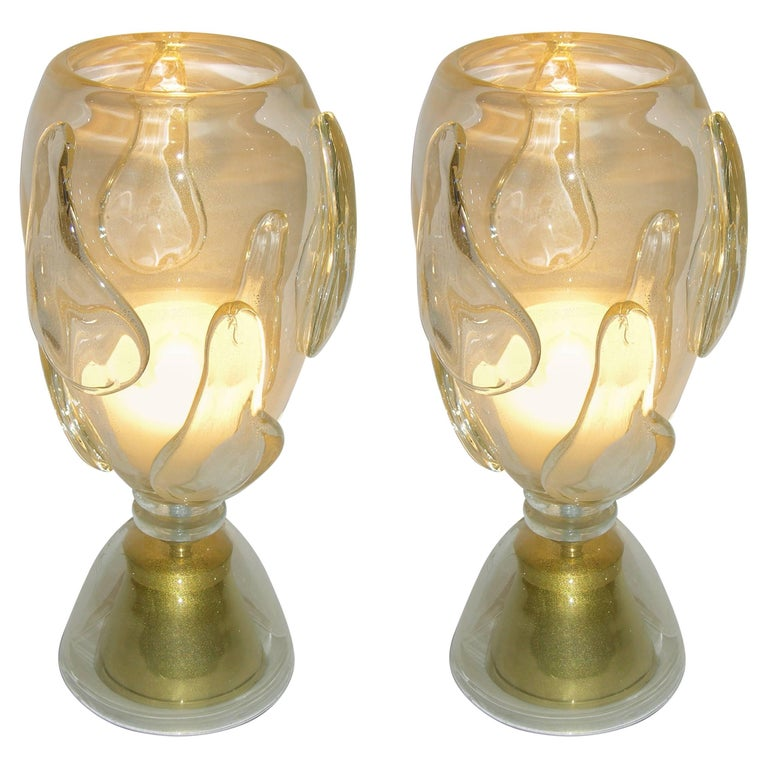 Constantini 1980s Italian Pair of Modern Brass and Gold Murano Glass Lamps For Sale