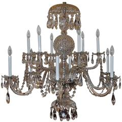 Elegant Twelve-Light Large Georgian Cut Crystal Chandelier Swag Two-Tier Fixture