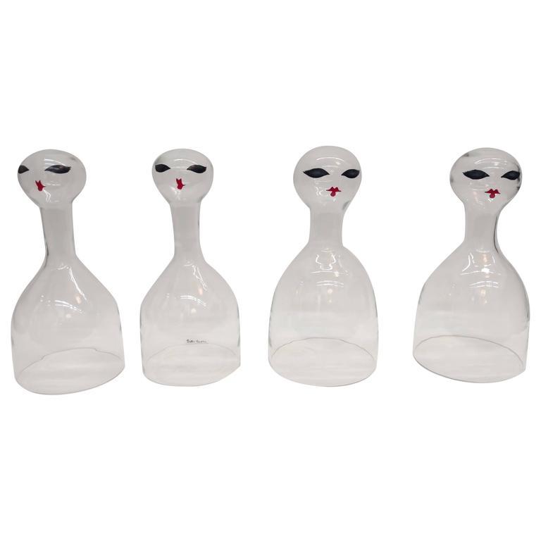 Set of Four Art Glass Blown Figurine Sculptures