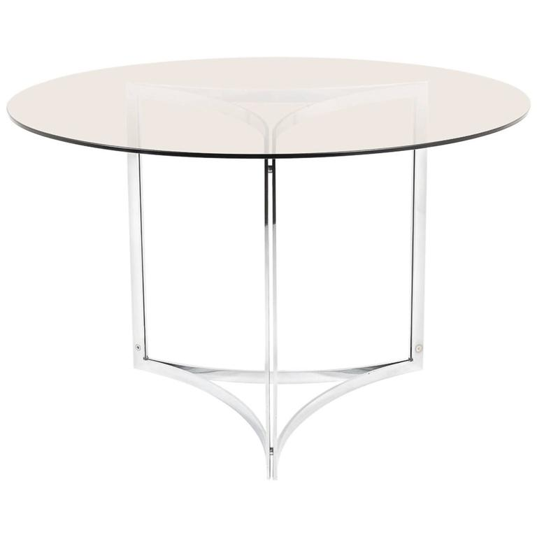 Round French Dining Table With Smoked Gl Circa 1960 For