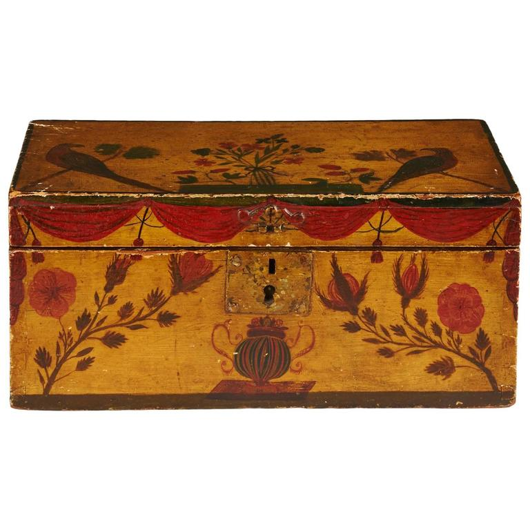 Decorative storage boxes yellow : Yellow and polychrome decorated box for sale at stdibs