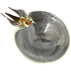 Elegant Murano Clear Glass Bird Bath Bowl Large Italian