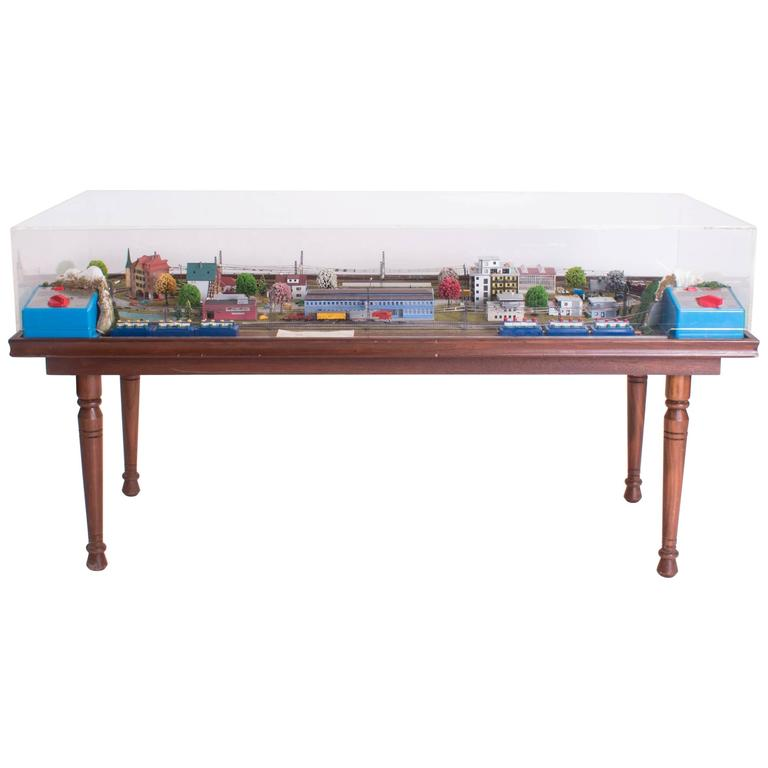Merklin Train Set Table under Perspex Cover For Sale at 1stdibs