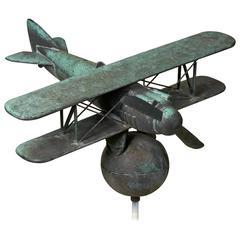 Copper Biplane Weathervane