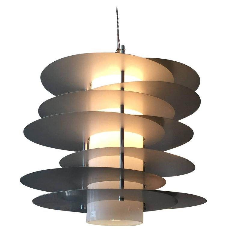 Aluminum Discs and Opaline Glass Chandelier by Selenova, Italy