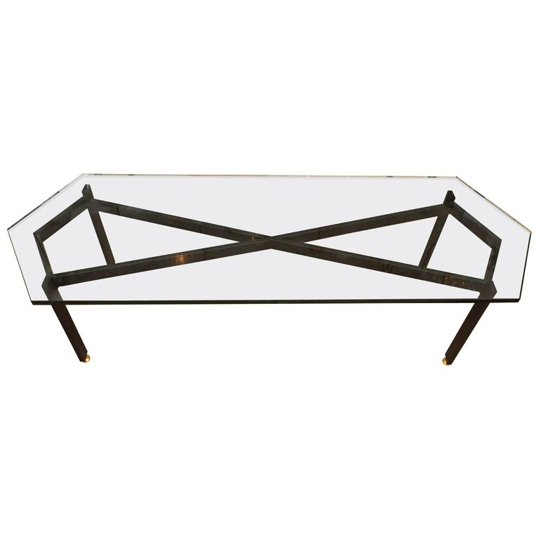 "Iron ""Infinity"" Base Coffee Table with Brass Detail and Pointed Glass Top"