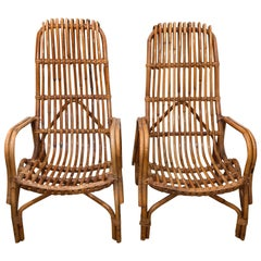 Pair of Tall Back Rattan Armchairs