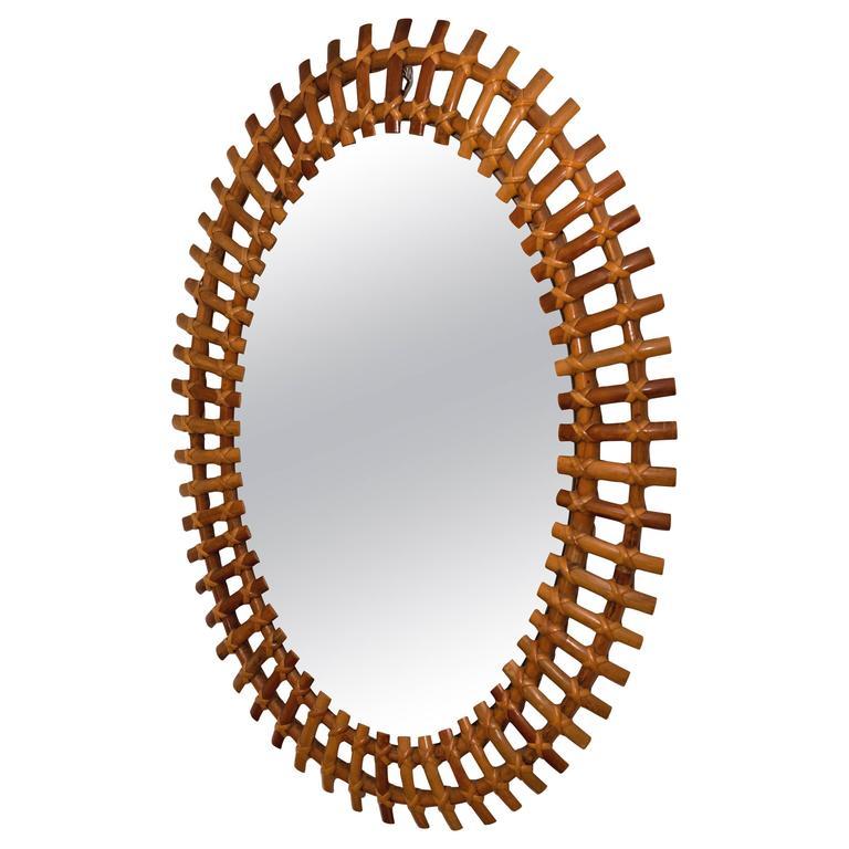 Oval Rattan Surround Mirror