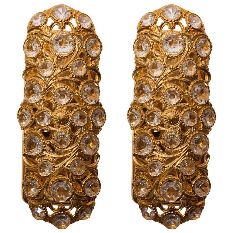Pair of Gilt Metal Tendril Sconces with Inset Crystal Details