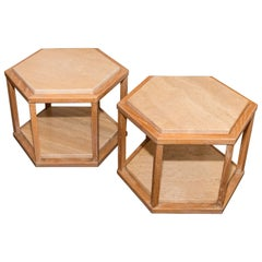 Pair of Petite Wood Tables with Marble Inserts, Signed Fournier Decoration