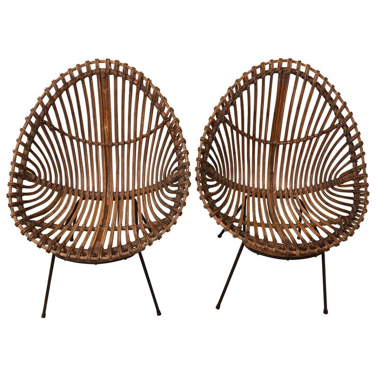 Pair of Bamboo Chairs in the Style of Franco Albini For Sale